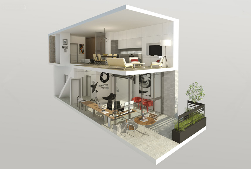 Rendering of 2-storey Live-Work unit at DUKE Condos © TAS Design Build