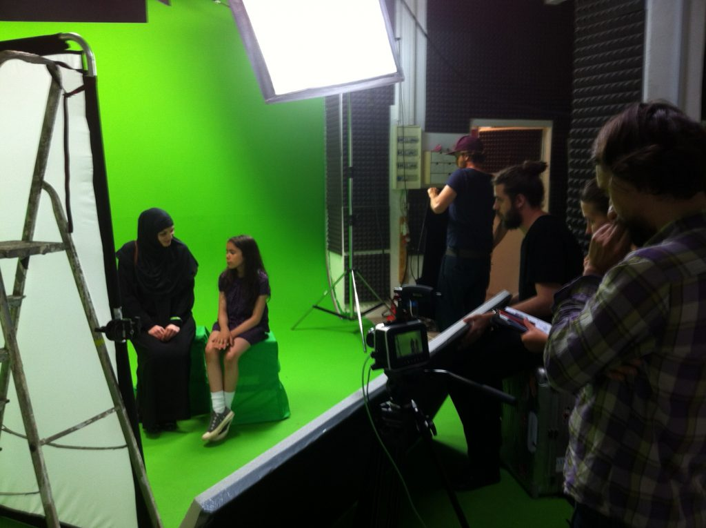 Storytelling in action: Greenscreen shooting for animation on Arabian infrastructure project © morean