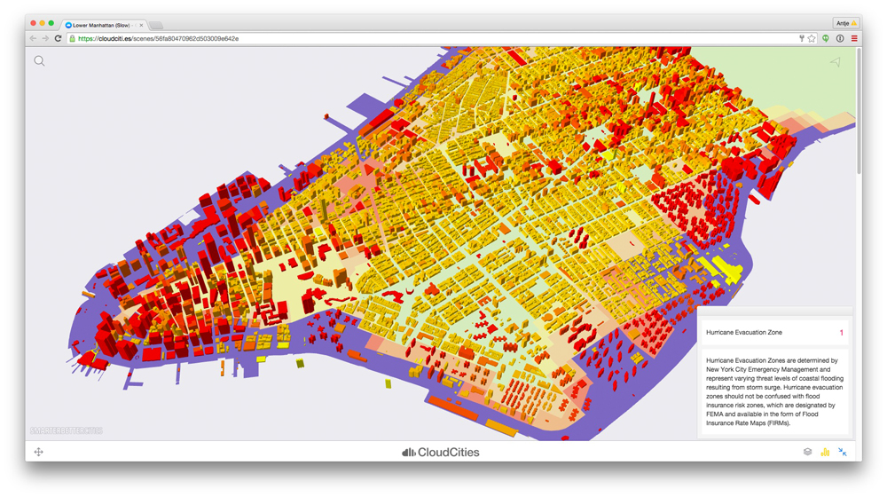 The 3D model of Lower Manhattan and its Hurricane Evacuation Zones is based on open data from New York City OpenData and Open Street Maps. © SmarterBetterCities