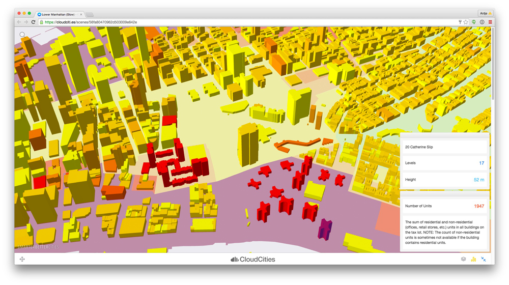 Lower Manhattan - Open Data visualization © SmarterBetterCities
