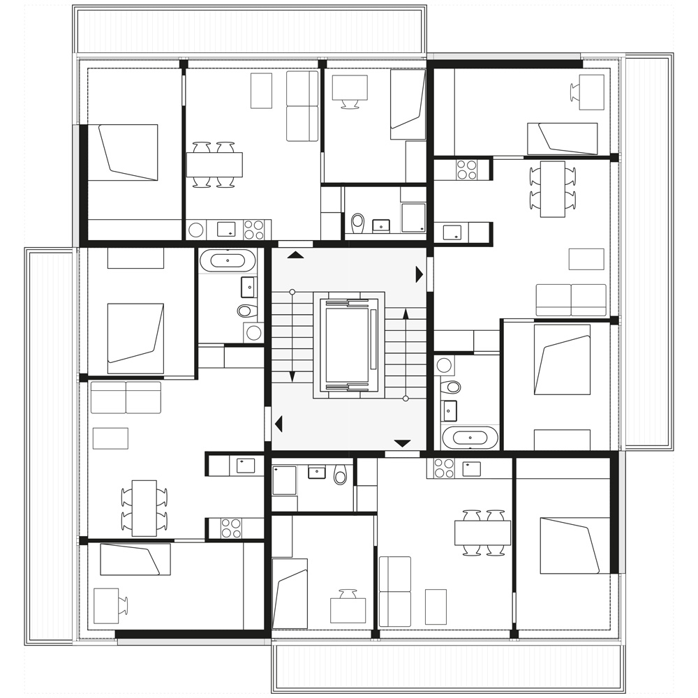 floorplan 1st, 3th and 5th storey | © Zanderroth Architekten