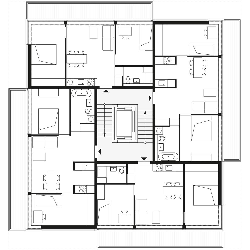 floorplan 1st, 3th and 5th storey   © Zanderroth Architekten