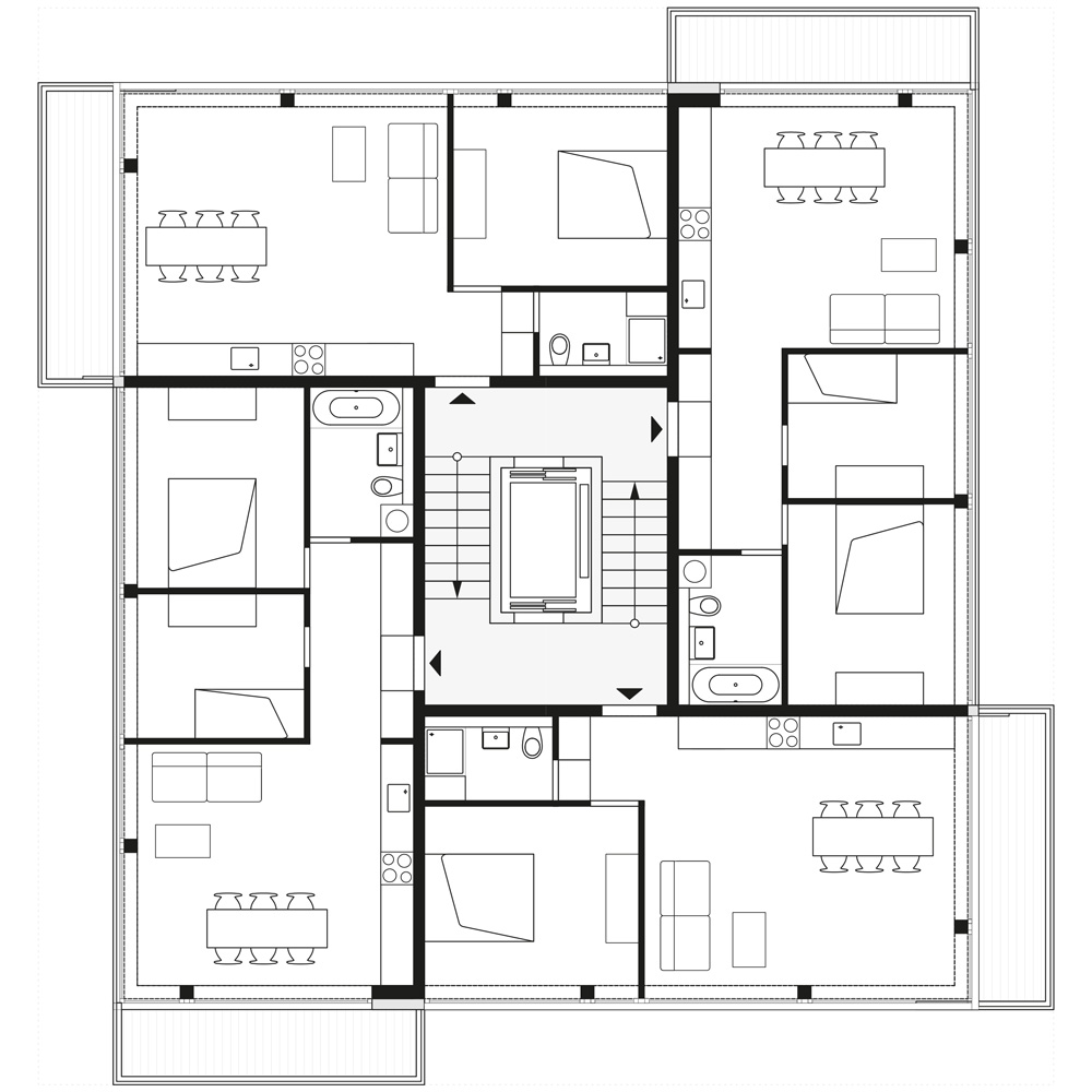 floorplan 2nd, 4th and 6th storey | © Zanderroth Architekten