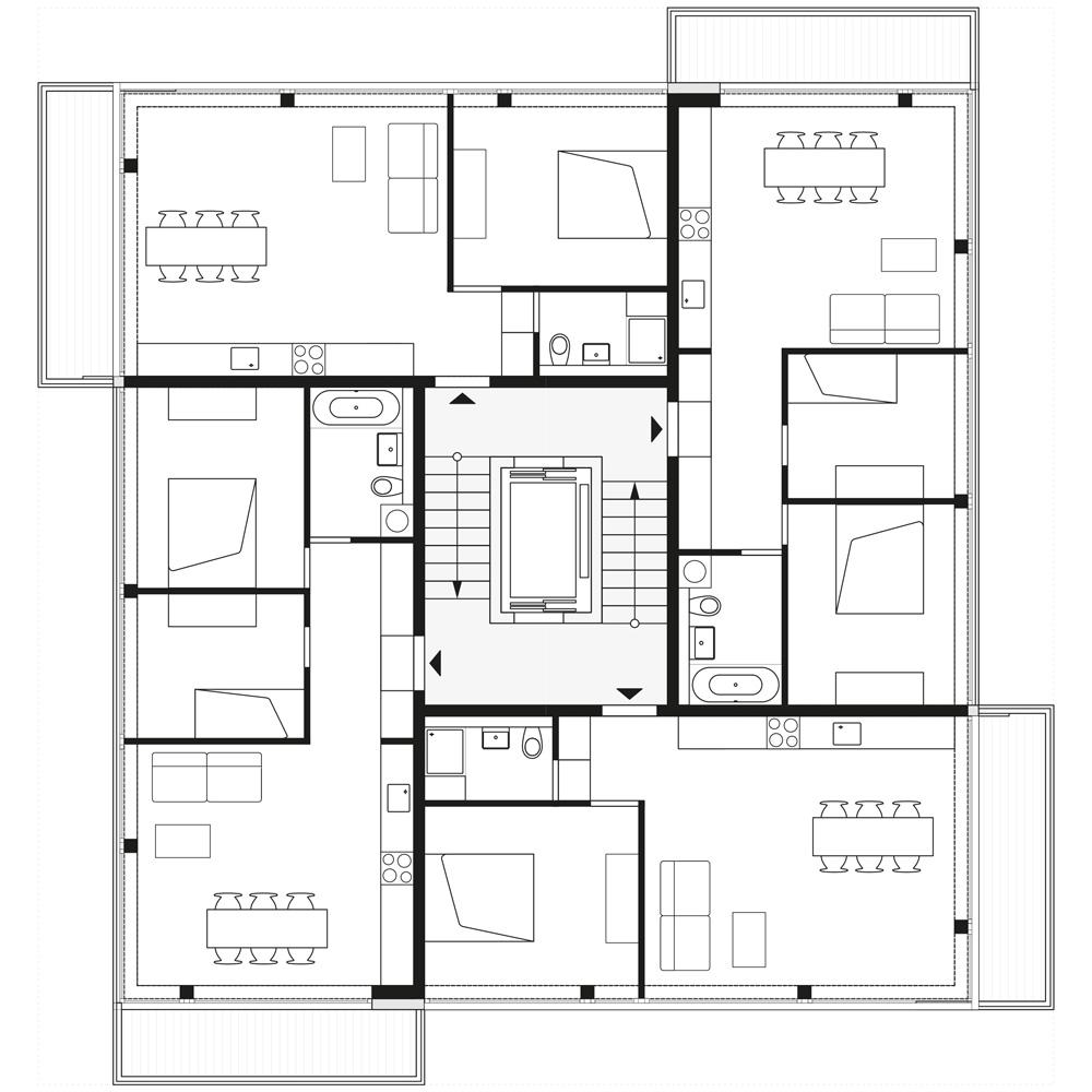 floorplan 2nd, 4th and 6th storey   © Zanderroth Architekten