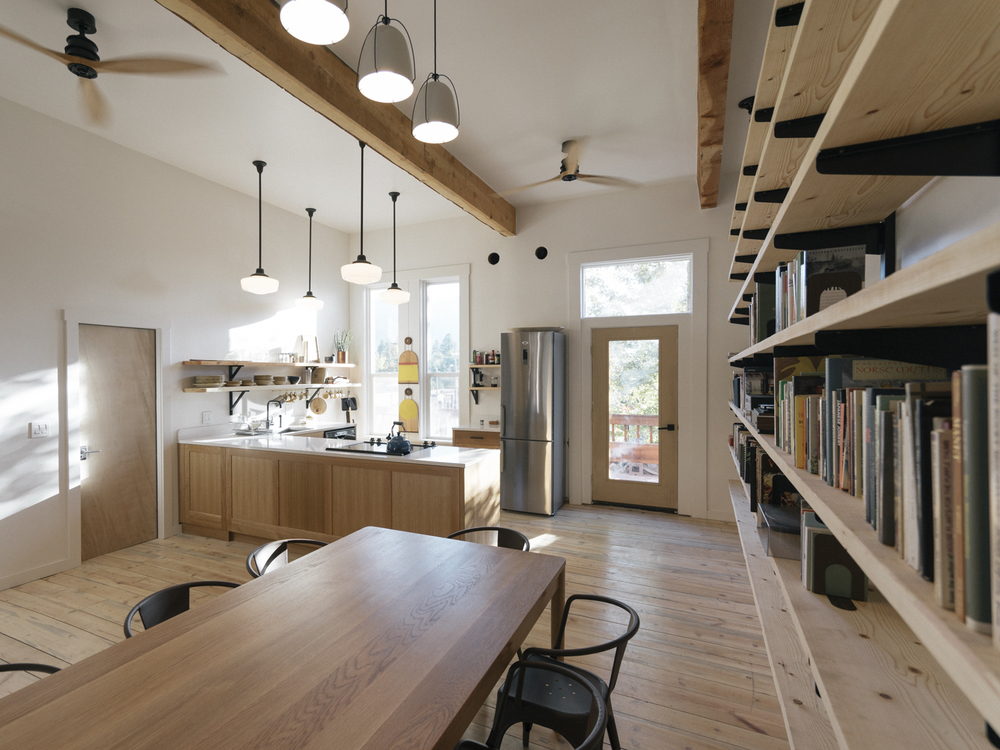 The communal kitchen and library is designed by Matt Pierce and Ben Klebba.