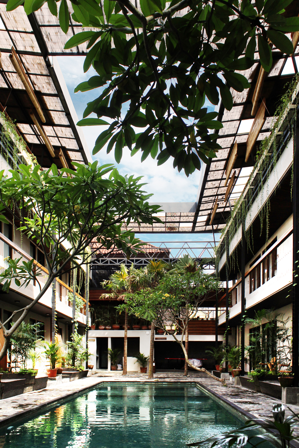 Courtyard of Roam by architect Alexis Dornier in Bali