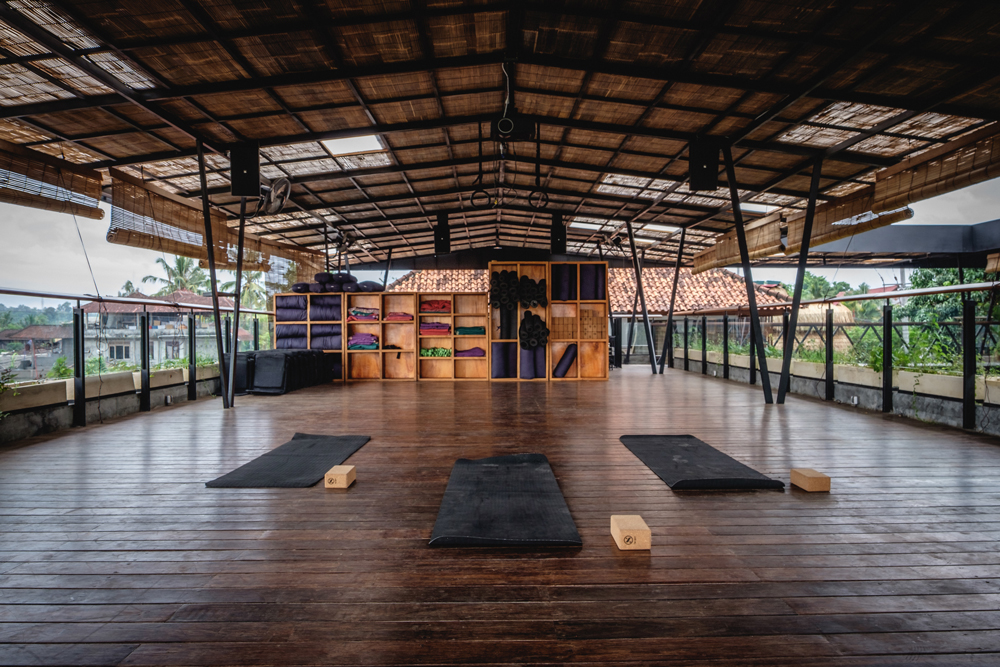 The rooftop yoga deck at Roam Bali