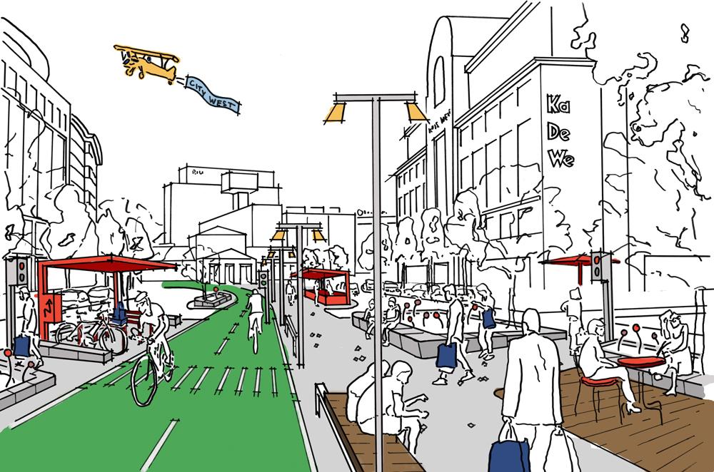 Sketch of the bike path along side a strolling promenade.
