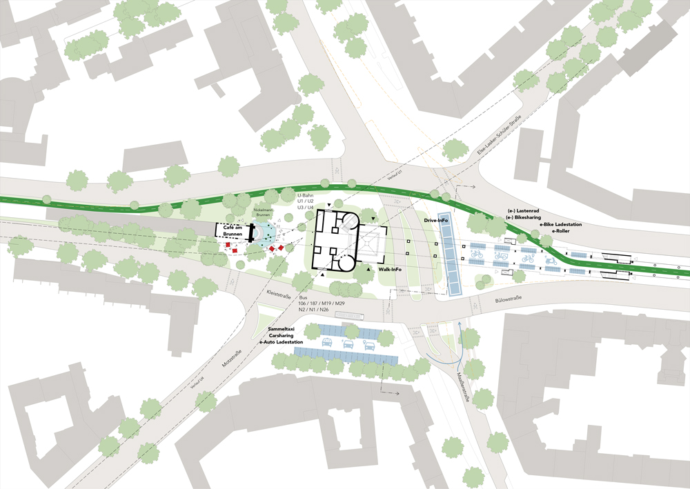 Blueprint of the solution of the intersection of the bike path with car traffic at Nollendorfplatz...