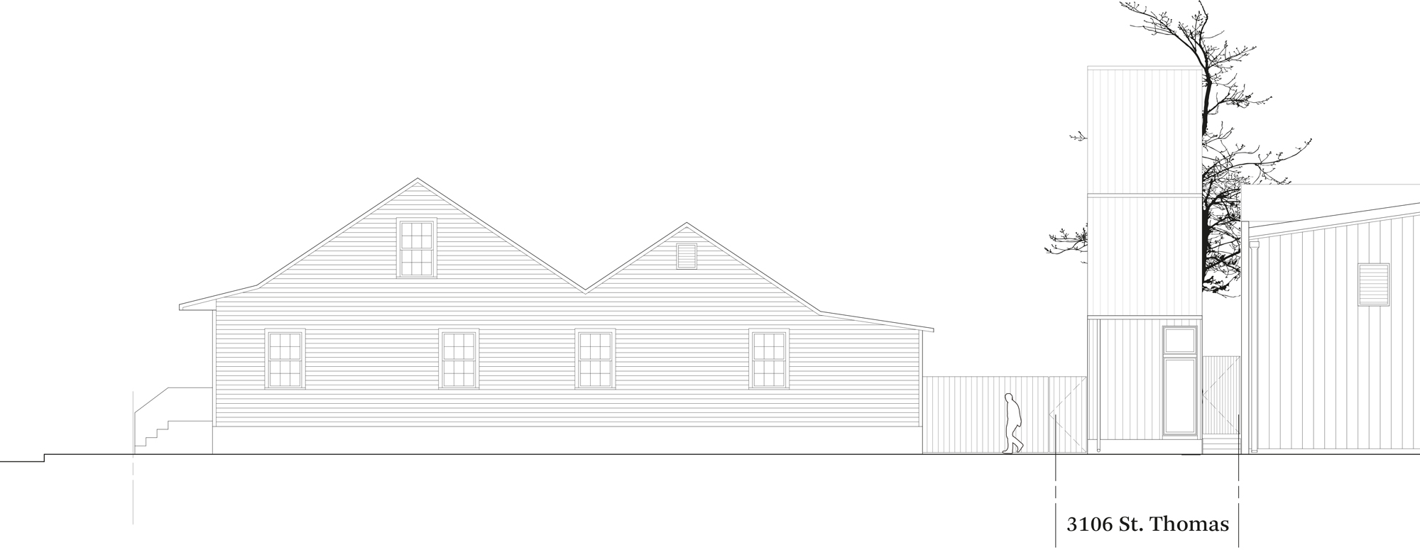 Plan of the street elevation of the first Starter Home* by OJT (Office of Jonathan Tate)