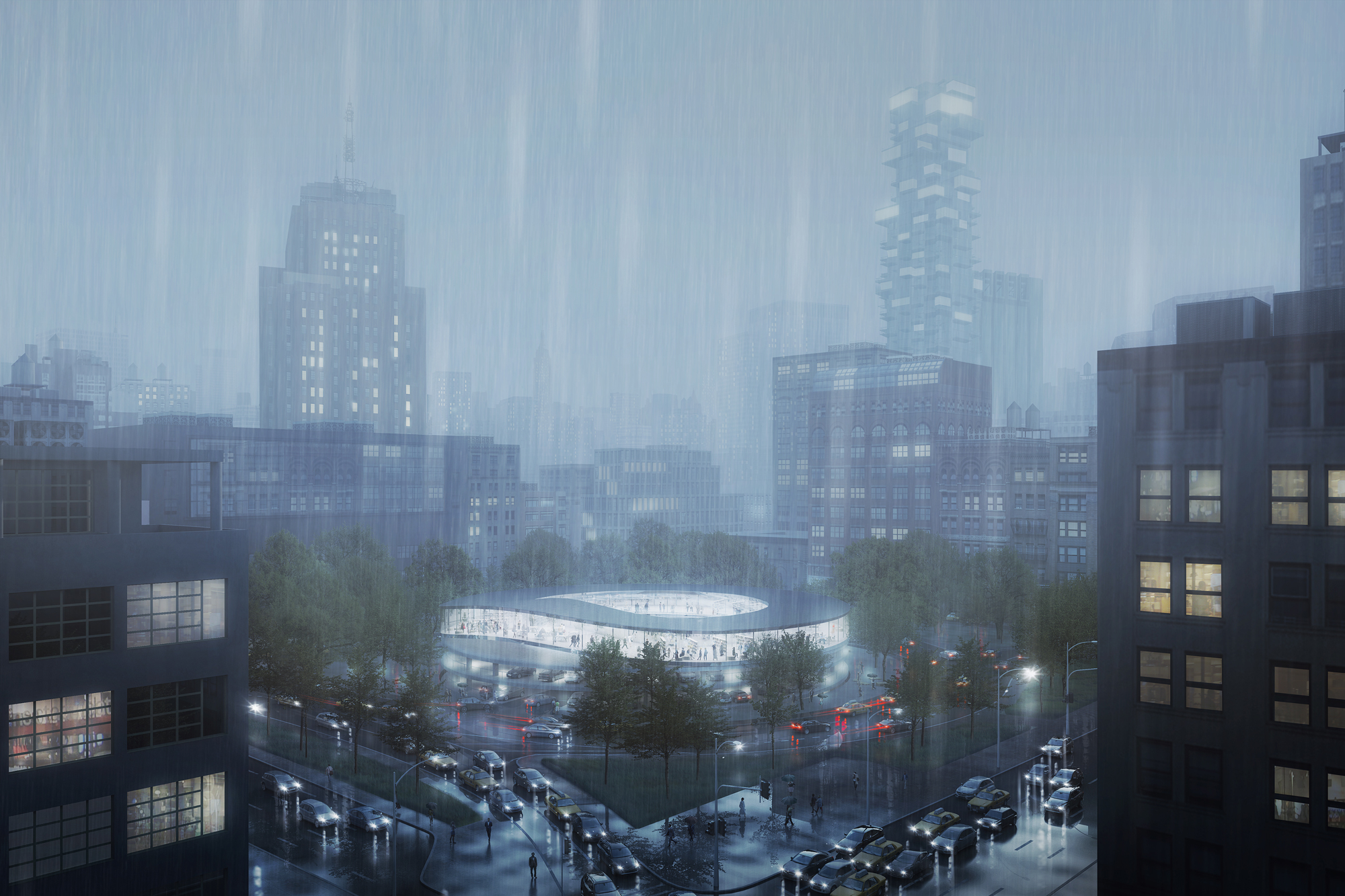 POP-UP by architectural office THIRD NATURE on a normal rainy day