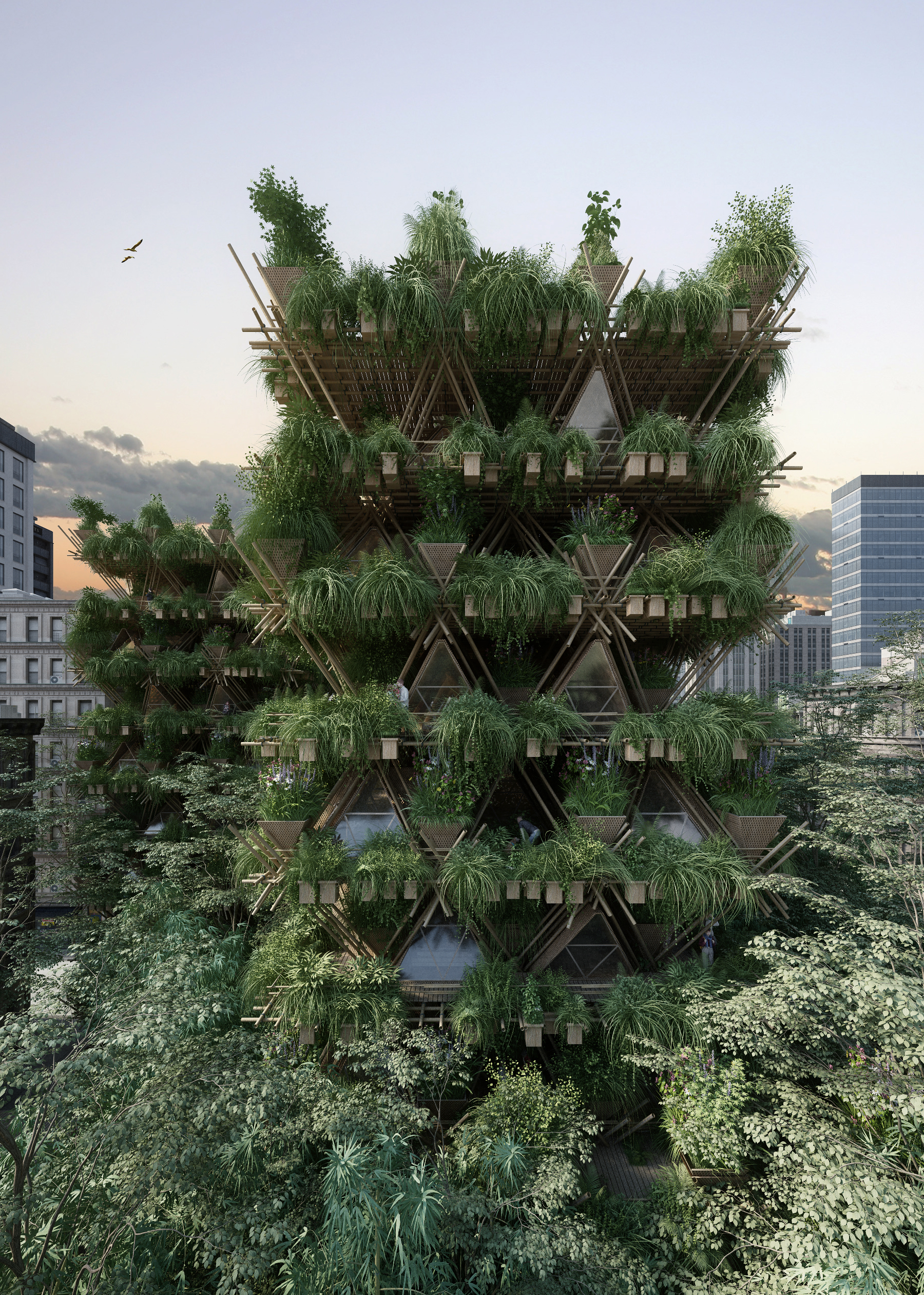Bamboo city made from interlocking modular components.