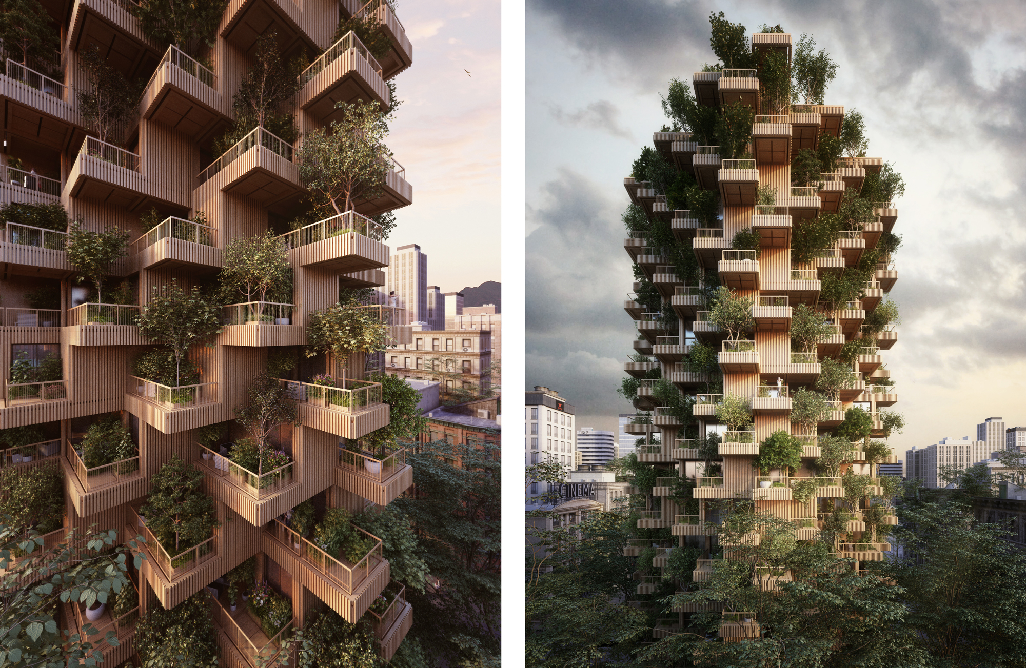 Proposal for the Toronto Tree Tower built from cross-laminated timber modules.